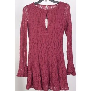 Free People Lace Cutout Peasant Dress Plumeria